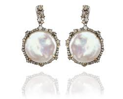 diamond and pearl earrings episodic diamond coin pearl earrings designer pearl and leather