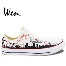 aliexpress com buy wen white hand painted casual shoes custom