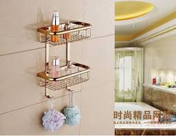 brass gold double tiers bathroom corner shelves with robe hook
