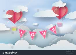 Valentine S Day Flags Paper Art Craft Love Invitation Card Stock Vector 785613202