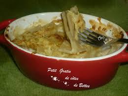 cuisiner les bettes petit gratin de côtes de bettes ou blettes pour 1 pers chez vanda