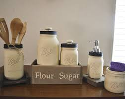 rustic kitchen canisters etsy