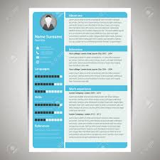 Resume Vector Blue Flat Resume And Cv Template Vector Illustration Royalty