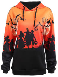 halloween shirts plus size plus size halloween moon bat print hoodie with pocket black xl