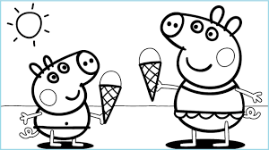 peppa pig ice cream coloring pages for kids peppa coloring
