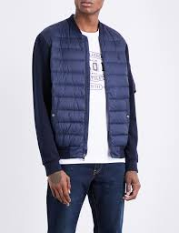 polo ralph lauren panelled hybrid shell down er jacket in blue