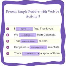 present simple positive with verb be 3 1st grade grammar worksheets