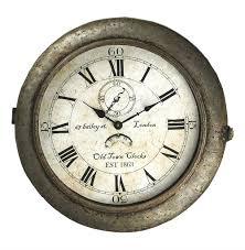 bailey street industrial rustic grey steel round wall clock