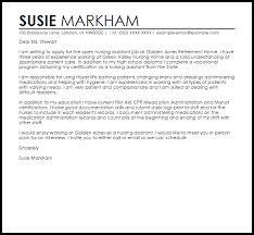 sample cover letter for a nursing assistant livecareer