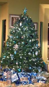 christmas tree decorated with cobalt blue aqua and silver martha