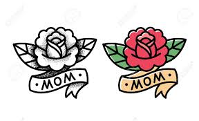 old rose tattoo with ribbon and word mom two variants