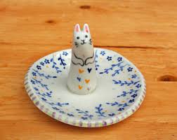 porcelain rabbit ring holder images Bunny ring holder etsy jpg