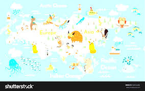 World Map For Kids Real Treasure Maps For Kids World Map Continents Animals Eurasia