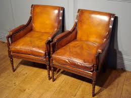 sold pair of studded leather library reading armchairs antique