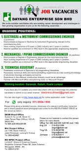 commissioning engineer advertisement detail dayang enterprise sdn bhd gas