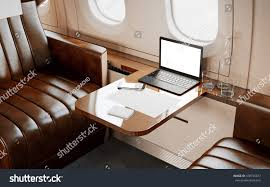 modern laptop blank screen inside interior stock illustration