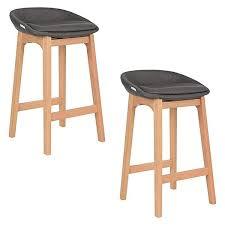 timber bar stools vigo fabric upholstered timber bar stool in dark grey set of 2