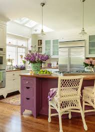 colorful farmhouse kitchen shabby chic style with purple and green