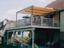 Cool Awnings Good Deck And Patio Awning Without Legs And White Wood Fence In