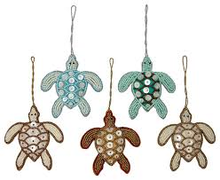 beaded ornaments set turtles 5 set style
