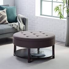 coffee tables astonishing dark brown round modern leather