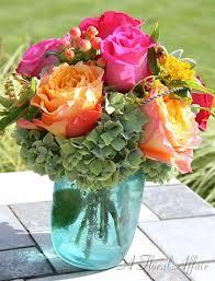 jar arrangements reception flowers low arrangements rf0508 summer blue