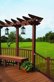 Trex Pergola Kit by Trex Bench With Planter Box End Backyard Ideas Pinterest