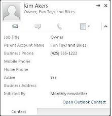 Job Title On Business Card Use The Contact Card In Business Contact Manager Outlook
