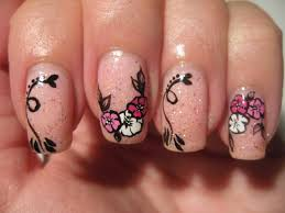 nail art quick flowers on pink glitter youtube