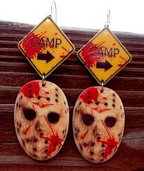 jason voorhees camp earrings friday the 13th by mirroredopposites