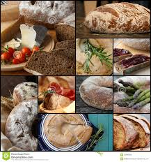 country style wholemeal rye bread loaf set collage royalty free