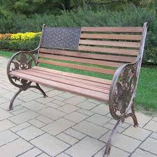 Wooden Patio Bench by Oakland Living Proud American Old Glory Flag Cast Iron And Wood