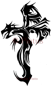 tattoo cross dragon dragon cross drawing clipartxtras