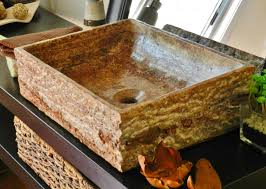 natural stone rectangle vessel sink red travertine marble