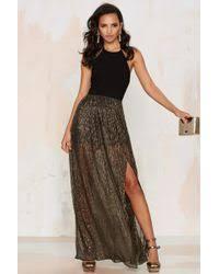 nasty gal all night long metallic halter dress in metallic lyst