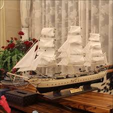 room decorations smooth wooden sailboat model large wooden