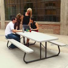 Lifetime Folding Picnic Table 80123 30 X 96 Rectangular Putty Plastic Folding Picnic Table