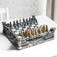 ancient chess set 3d roman gladiator pewter chess set hayneedle