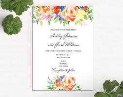 floral wedding invitation template summer invitation printable