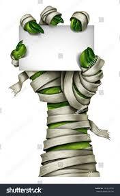 blank halloween background mummy sign mummified creepy monster hand stock illustration