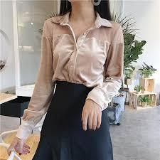 blouse tumbler itgirl shop chiffon shoulders velvet collar buttons sleeve