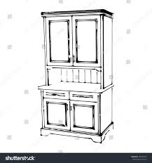 Furniture For The Kitchen Sketch Wood Cupboard 3d Isolated Style Stock Vector 438500773