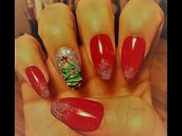 3d acrylic christmas tree nail art tutorial youtube
