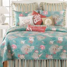 turquoise quilted coverlet santa catalina coastal seashell quilt bedding
