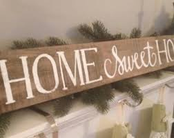 wood sign home sweet home arrow distressed by dandelionsignshop