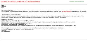 tax representative offer letter