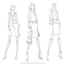 drawn fashion model figure pencil and in color drawn fashion