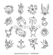 doodle icon traditional tattoo flash set stock vector 530588494