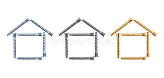 three houses design of three houses from bolts stock photography image 28369962