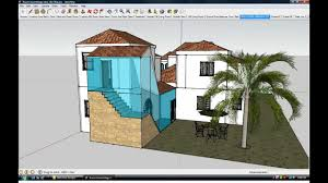 google sketchup home design boxes under a clay tile roof